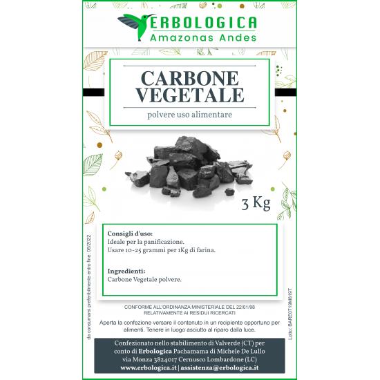 Carbone vegetale polvere 3 Kg uso alimentare