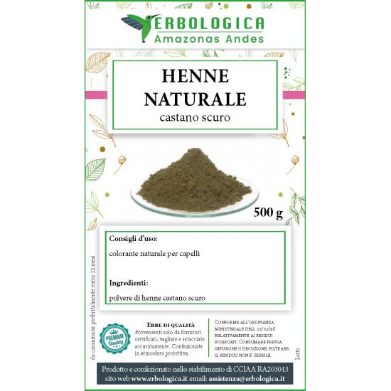 Henne castano scuro polvere naturale 500 grammi