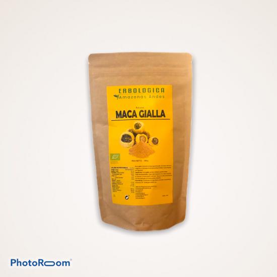 Maca gialla gelatinizzata in polvere  bio peruviana, confezione da 500 grammi