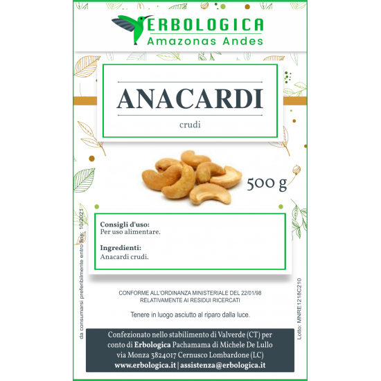 Anacardi crudi confezione da 500 grammi