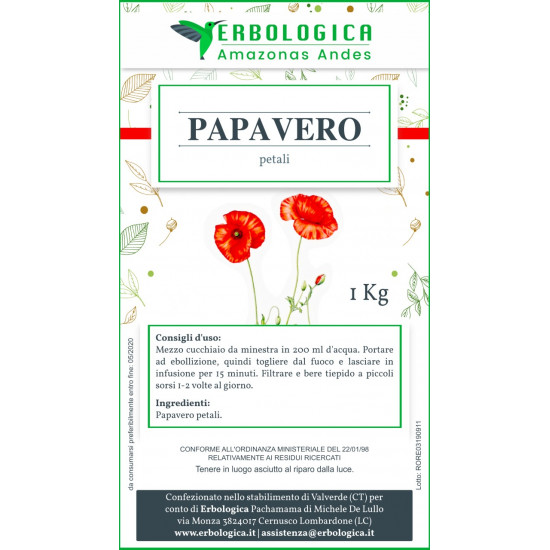 Papavero petali taglio tisana 1 kg